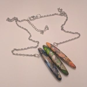 Artisan Jewelry - Colorful Jasper Pendant Necklace